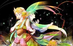 Картинка звезды, цветы, сияние, девушки, две, костюм, длинные волосы