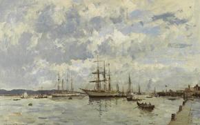 Картинка пейзаж, корабль, картина, Эдуард Сиго, На Реке Тахо. Португалия