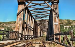 Картинка небо, мост, железная дорога