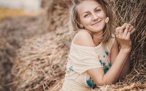 Картинка девушка, улыбка, ромашка, сено