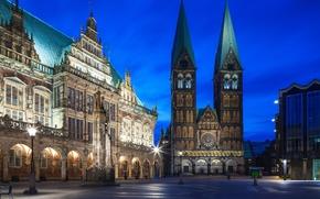 Обои Bremen, Germany, освещение, Германия, архитектура, синева, город, огни, Бремен, Бременская ратуша, night city, Bremen City ...