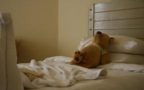 Картинка радость, настроение, отдых, игрушка, кровать, сон, медведь, отель