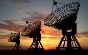 Картинка metal, desert, sunset, radars