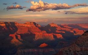Картинка облака, закат, горы, скалы, краски, Аризона, США, Grand Canyon National Park, Большой каньон
