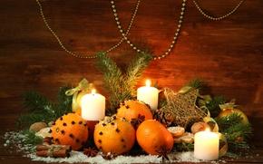 Картинка украшения, елка, апельсины, свечи, Новый Год, Рождество, Christmas, decoration, Merry
