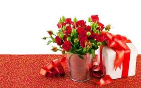 Картинка фото, Цветы, Красный, Розы, Много, Бантик, Подарки