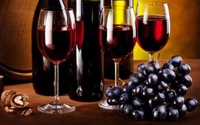 Обои виноград, бокалы, бутылки, кисть, вино, гроздь, орех