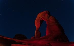 Картинка небо, звезды, ночь, скала, каньон, арка, Utah, Arches National Park
