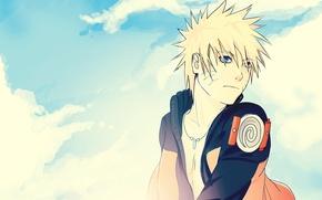 Картинка небо, облака, кулон, ниндзя, Наруто, Naruto, Uzumaki