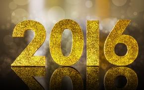 Обои 2016, happy, new year, golden, glitter, bokeh, новый год