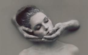 Картинка девушка, стена, руки