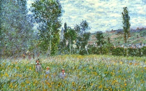 Обои Клод Моне, картина, Луг, пейзаж, природа