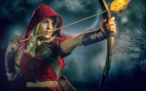 Картинка огонь, красная шапочка, лук, стрела, Red Riding Hood, Theresa Louise