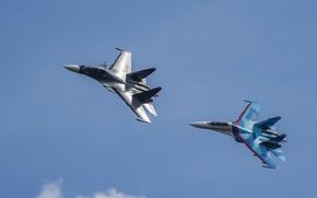 Обои истребители, Су-27, полет, Су-30