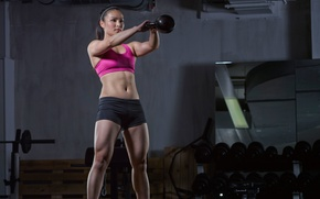 Картинка woman, workout, gym, Russian, dumbbell, crossfit