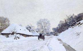 Картинка зима, снег, пейзаж, картина, Клод Моне, Телега на Заснеженной Дороге и Ферма Сен-Симон