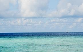 Картинка небо, тучи, океан, корабль