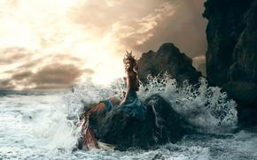 Картинка волны, девушка, камень, прибой, Bella Kotak