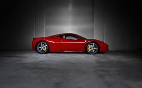 Картинка красный, профиль, red, ferrari, феррари, диски, 458 italia, суппорты