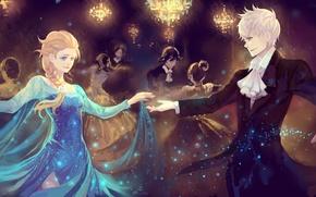 Картинка девушка, огни, красота, танец, арт, пара, Frozen, парень, бал, люстры, Rise of the Guardians, Хранители …