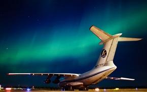 Картинка ночь, северное сияние, самолёт, север, Ил-76ТД