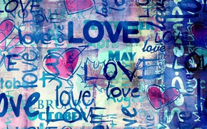 Картинка любовь, синий, стиль, надписи, фон, Love, сердечки, hearts, blue background