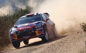 Обои Авто, Пыль, Спорт, Машина, Скорость, День, Citroen, Автомобиль, Red Bull, DS3, WRC, Rally, Ралли