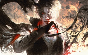 Картинка кровь, рука, demon, мужчина, парень, anime, art