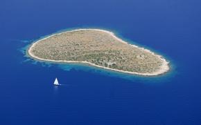 Обои океан, яхта, остров