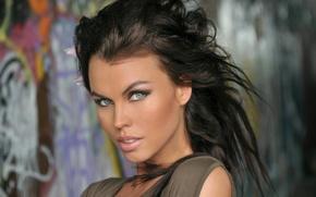 Картинка взгляд, девушка, стиль, фон, стена, граффити, цель, girl, красивая, Olga, graffiti, style, орхидея, дикая, снаряжение, …