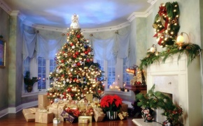 Обои Елка, Новый Год, подарки, Дом