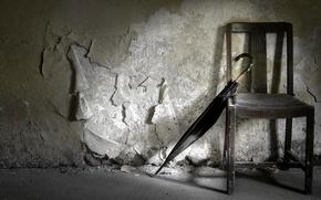Картинка стена, зонт, стул