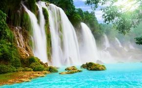 Картинка водопад, вода, водопады, деревья.
