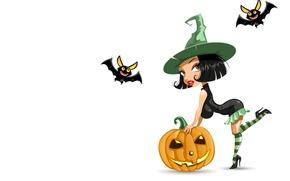 Обои тыква, хэллоуин, праздник, ведьма, атр, летучая мышь
