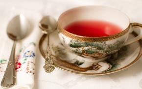 Обои блюдце, салфетка, ложки, чай, чашка