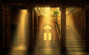 Картинка лестница, музей, солнечные лучи, Rietberg