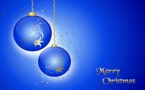 Картинка зима, шарики, вектор, Рождество, украшение, открытка
