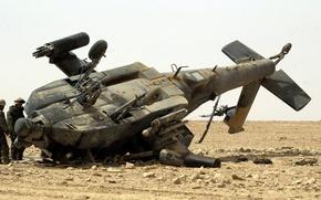 Обои пустиня, крушение, AH-64 Apache, ирак