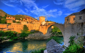 Обои дома, мост, Mostar, Босния и Герцеговина, река