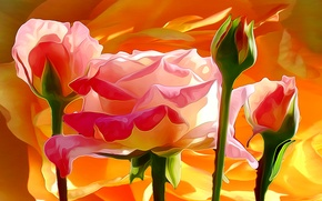 Картинка линии, цветы, краски, лепестки, бутон