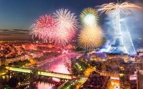 Картинка Франция, Париж, башня, салют, фейерверк, День взятия Бастилии, 14 июля 2015 года