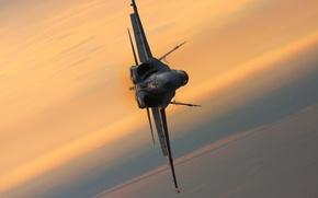 Картинка закат, истребитель, полёт, многоцелевой, Hornet, F-18