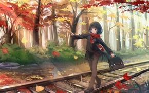 Картинка осень, листья, девушка, деревья, пути, аниме, арт, форма, школьница, kikivi