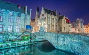 Картинка ночь, мост, lights, фонари, канал, Бельгия, Belgium, Bridges, Bruges