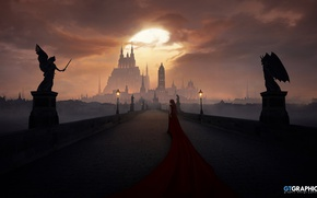 Картинка небо, облака, мост, замок, женщина, Angels and Demons