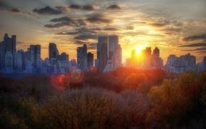 Обои New York, деревья, Sunset, Autumn, здания, осень, облака, закат