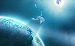 Обои звезды, космос, орбита, синева, спутник, планета, астронавт, свет, скафандр, космонавт