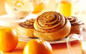 Обои хлебобулочные изделия, повидло, булочки, чашки, апельсины, дыня, тарелка