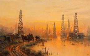 Картинка дорога, небо, пейзаж, закат, река, картина, вышка, Harvey G, Goose Creek Field