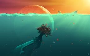 Картинка листья, вода, рыбы, пузыри, океан, планеты, растение, куст, фэнтези, под водой